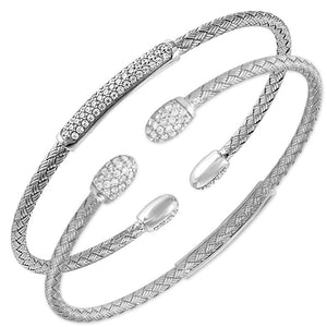 CZ Rhodium-Plated Silver 3mm Mesh Reversible Cuff