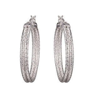 Sterling Silver Double Mesh 35mm Hoop Earrings