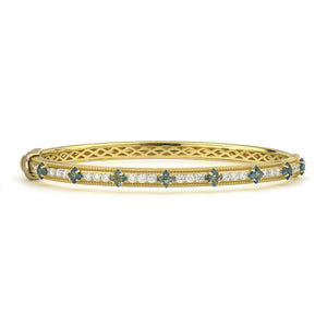 JudeFrances Moroccan Flower Cut Stone Pave Bangle