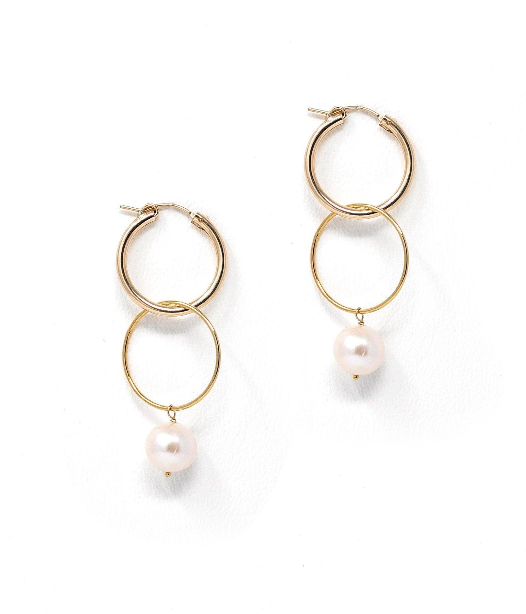 Nova Gold-Filled Hoop & Pearl Drop Earrings