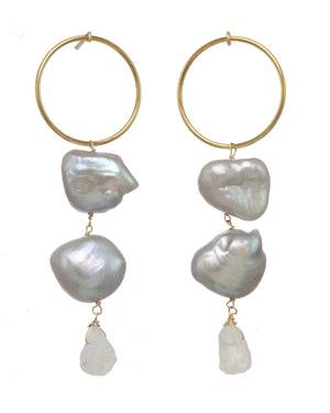 Padma Baroque Pearl & Moonstone Gold-Filled Earrings