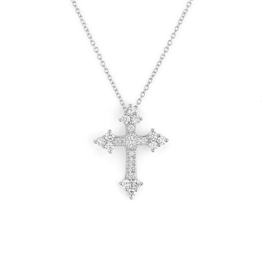 JudeFrances Provence Champagne Small Cross Pendant Necklace