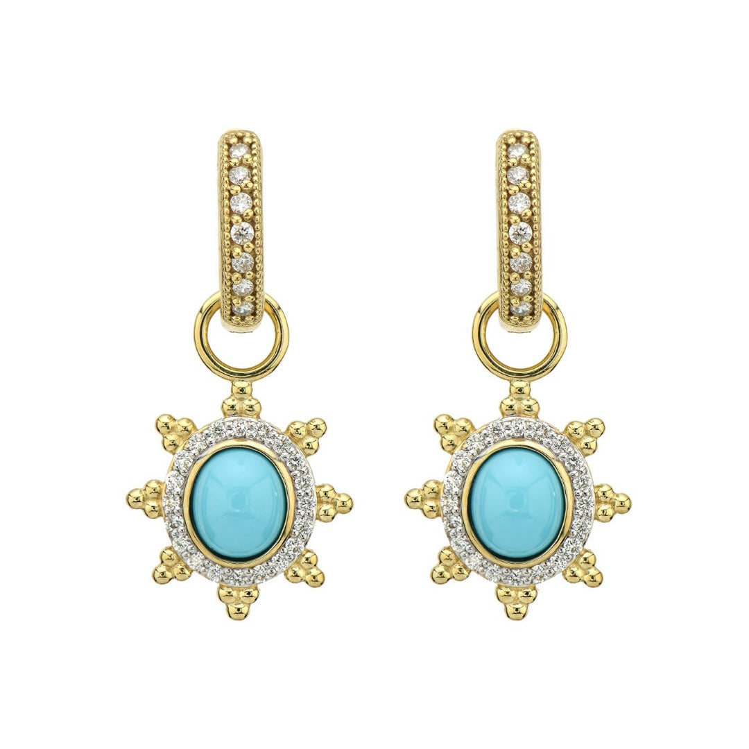 JudeFrances Provence Pave Halo Trio Sunburst Earring Charms