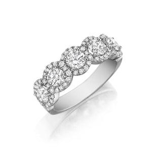 Henri Daussi 1.30ct Diamond Halfway 18K White Gold Band