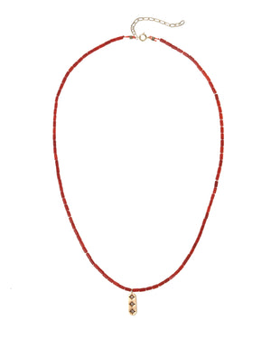 Gold-Filled Ra Red Coral Pendant Necklace