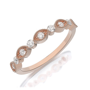 Henri Daussi .30ct Diamond Milgrain Halfway 14K Gold Band