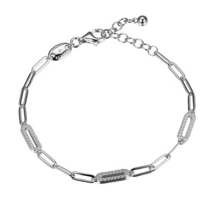 Sterling Silver Paperclip Chain & CZ Bracelet