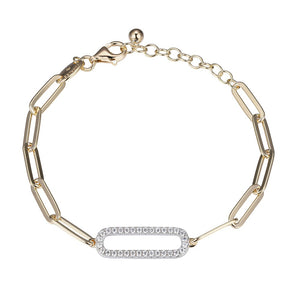 Charles Garnier Sterling silver paperclip chain bracelet with a cubic zirconia center link station, 18K yellow gold finish, and rhodium finish.  Length: 6.75–8""