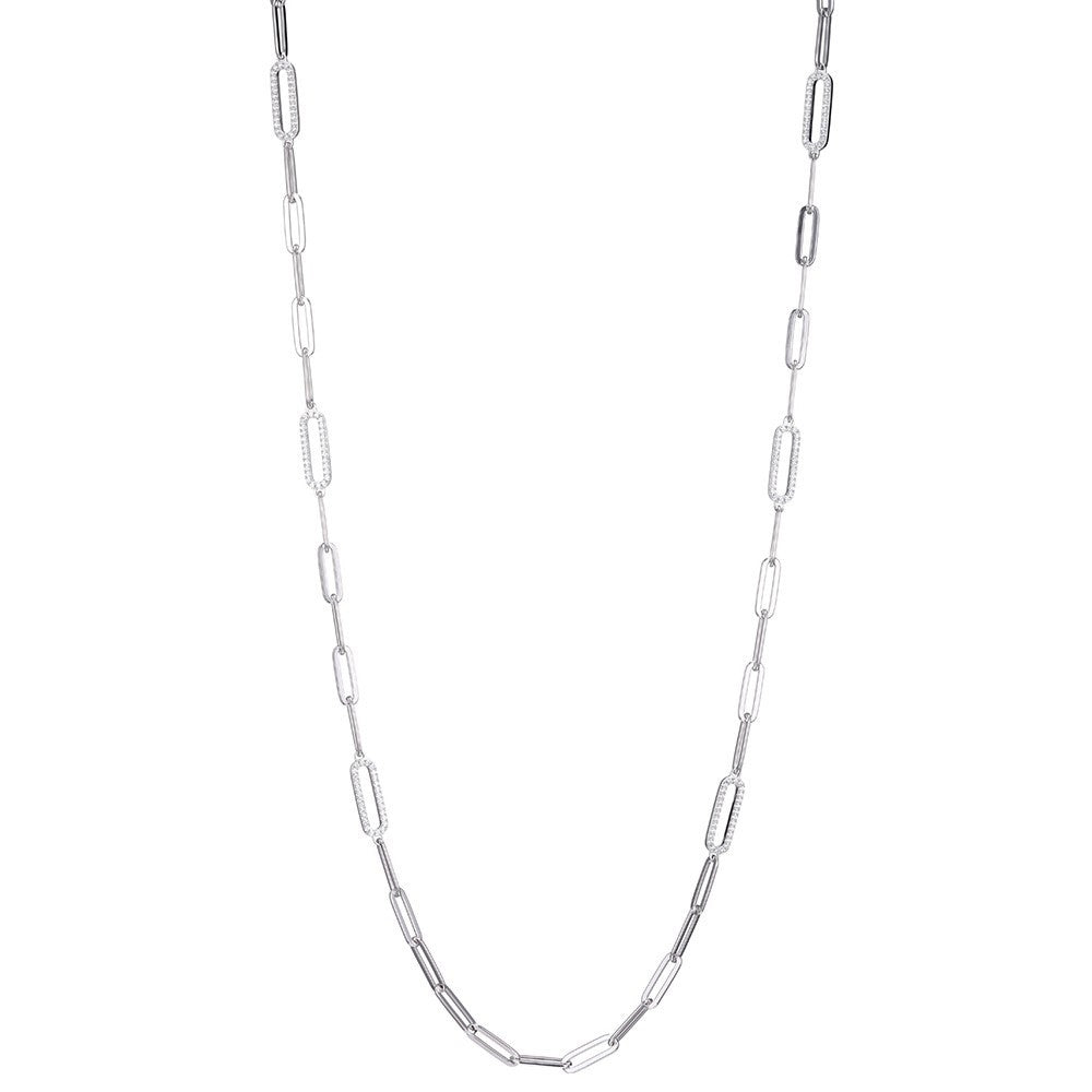 "Charles Garnier Sterling silver paperclip chain necklace with 6 cubic zirconia link stations and rhodium finish.  Length: 36""  Lobster clasp closure"