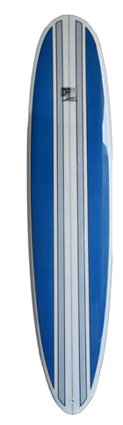 8'6 Wood Blue and white  Stripes Mini Malibu Surfboard