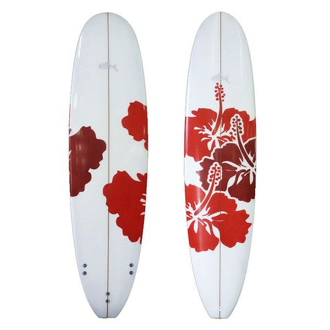 6'10 Sunride Surfboard Mal Red Hibiscus