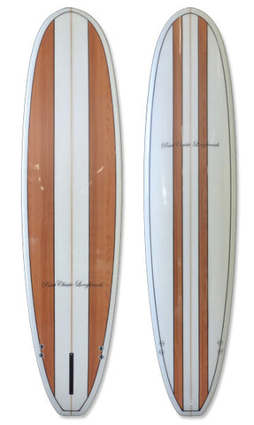 7'6 Wood Stripe Mini Malibu Surfboard