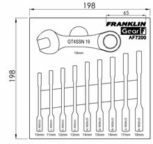 Load image into Gallery viewer, Gear F 10 pce 12 pt Stubby Ratchet Spanner Set