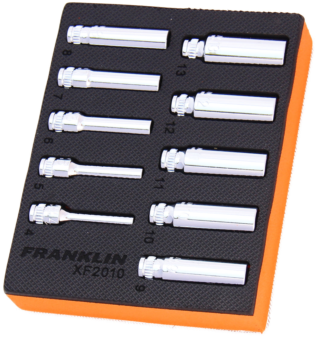 Franklin XF 10 pce 6 pt Deep Socket Set 1/4