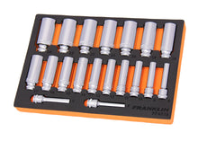 "Load image into Gallery viewer, Franklin XF 19 pce 6 pt Deep Socket Set 3/8"" dr"
