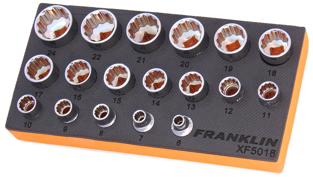 Franklin XF 18 pce 12 pt Socket Set 3/8