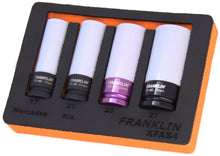 "Load image into Gallery viewer, Franklin XF 4 pce Alloy Wheel Nut Socket Set 1/2"" dr"