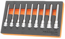 "Load image into Gallery viewer, Franklin XF 9 pce Long Hexagon Bit Socket Set 3/8"" dr"