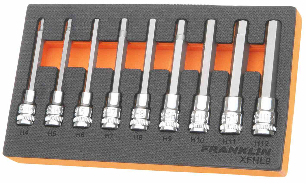 Franklin XF 9 pce Long Hexagon Bit Socket Set 3/8