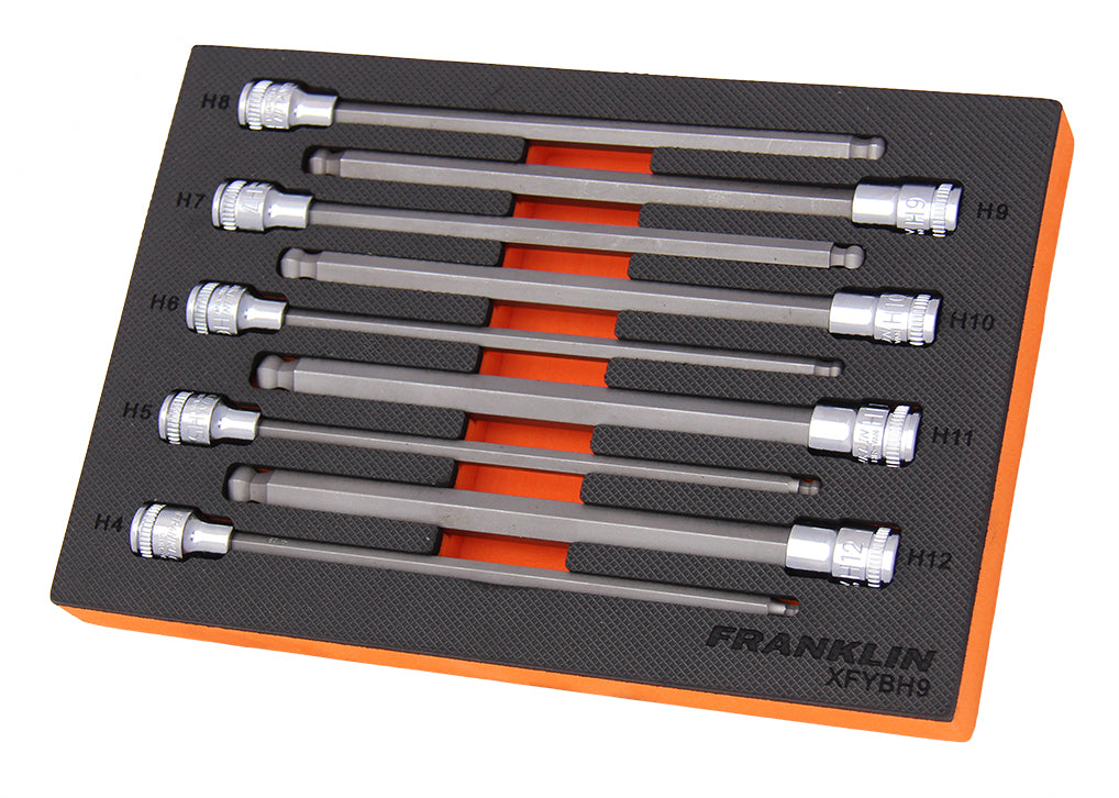 Franklin XF 9 pce 200mm Hexagon Long Ball End Bit Socket Set 3/8