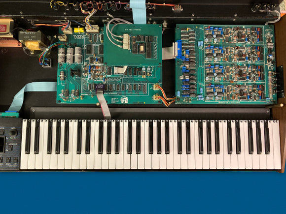 Top view of the Oberheim Ob-8 with the TM-8 Keyboard Replacement Kit installed