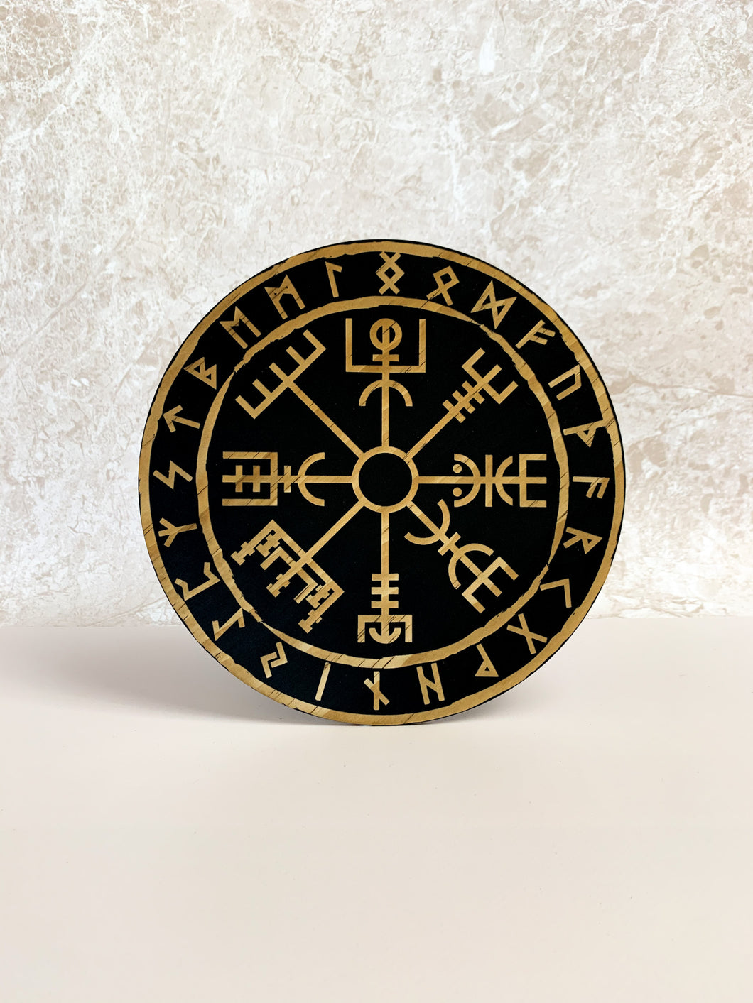 Vegvisir 'Viking Compass' By Yiska Designs - Blackened Woodgrain