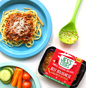 Jess Cooks Beef Bolognese for children with added vegetables, served with spaghetti and grated cheese