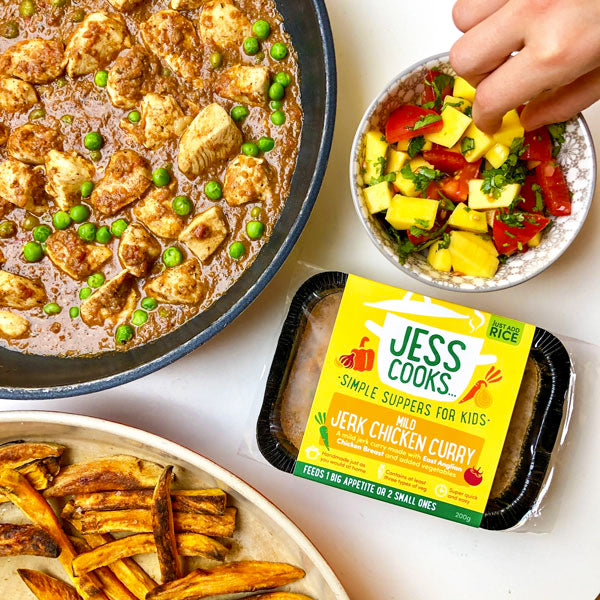 Jess Cooks Mild Jerk Chicken Curry for children, with added vegetables, served with rice and mango salsa