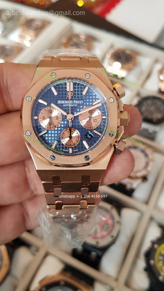 Copy of AP Royal Oak Chrono  Rose Gold plated   Blue/gold  Dial Best editon - only best watches