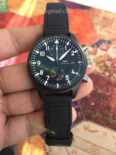 Pilot Chrono Top Gun  SS Black Dial Leather Bracelet Super Clone - only best watches