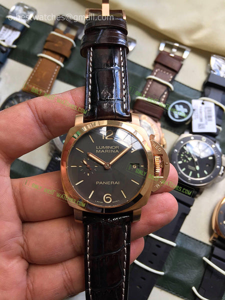 Panerai Luminor Grey Dial Black Leather  Bracelet Best Edition 1/1 - only best watches
