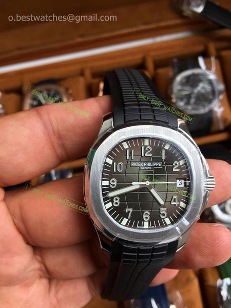Aquanaut 5168 40mm Grey  Dial on Black Rubber Strap Best Edition 1/1 - only best watches