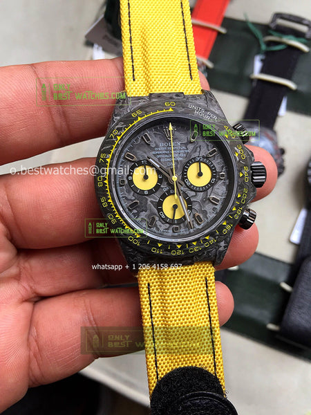 Daytona DIW Carbon Case and Bezel  Best Edition Yellow  Nylon Strap - only best watches