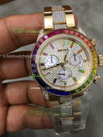 Daytona YG Rainbow Crystal  Diamonds Dial on YG Diamonds ON Braclet best edition 1/1 - only best watches