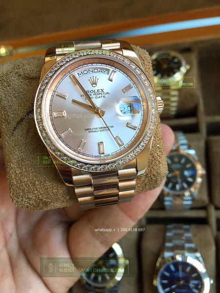 Day-Date  Gray Diamonds Dial YG  Diamonds Bezel  Best Edition1/1 super clone - only best watches