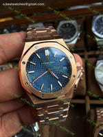 Royal Oak 41Mm Blue Textured Dial On Rg Bracelet Super Cone Watches