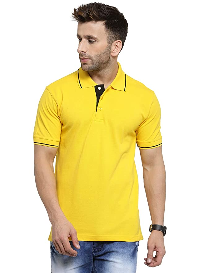 Marsh Super Cotton Polo Collar T-Shirt With Tipping - Yellow