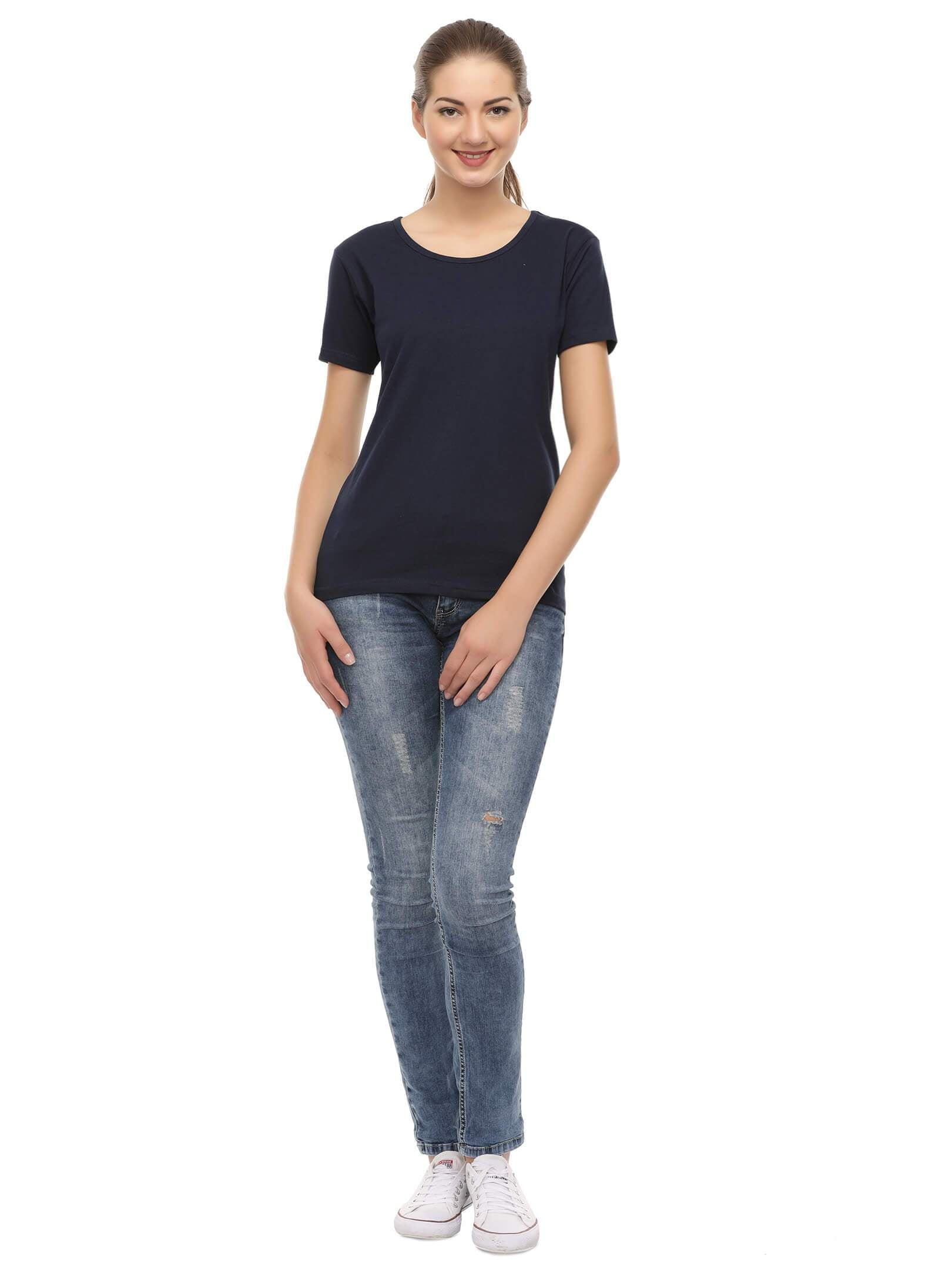 Amrak Women's Round Neck T-Shirt - Plain Navy