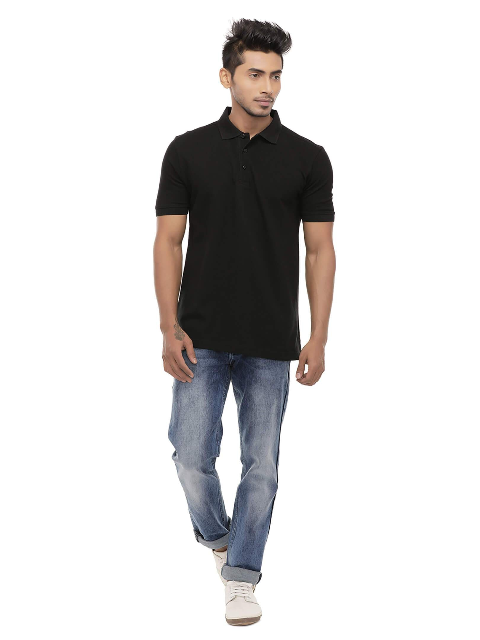 Amrak Men's Polo Collar T-Shirt - Plain Black
