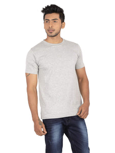Amrak Men's Round Neck T-Shirt - Plain Grey Melange