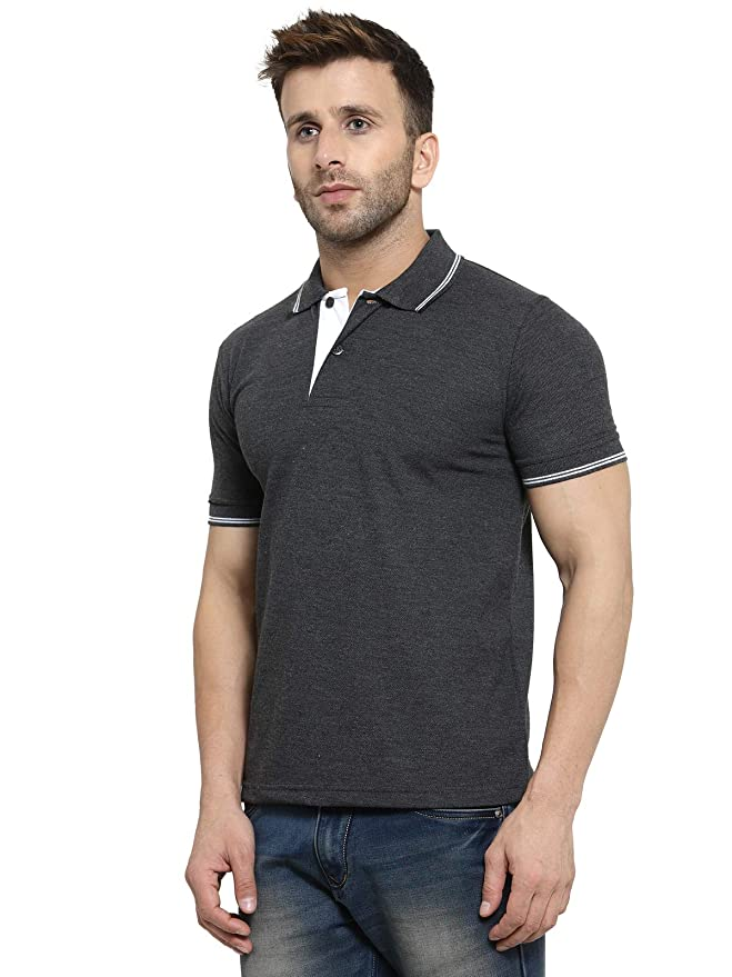 Marsh Super Cotton Polo Collar T-Shirt With Tipping - Charcoal Grey