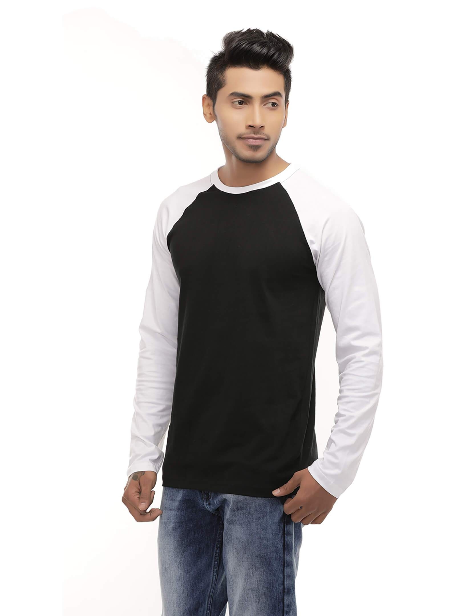 Amrak Men's Round Neck Full Sleeves Raglan - White & Black