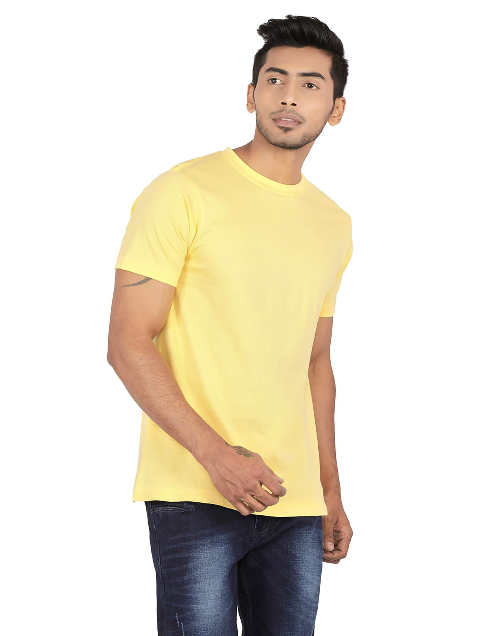 Amrak Men's Round Neck T-Shirt - Plain Yellow
