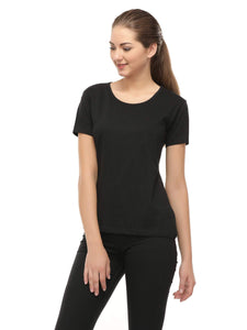 Amrak Women's Round Neck T-Shirt - Plain Black