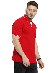 Marsh Super Cotton Polo Collar T-Shirt With Tipping - Red