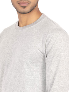 Amrak Men's Round Neck Full Sleeves T-Shirt - Plain Grey Melange