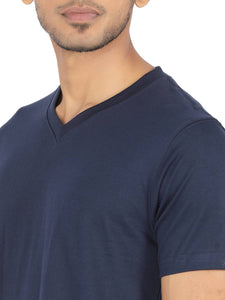 Amrak Men's V-Neck T-Shirt - Plain Navy Blue