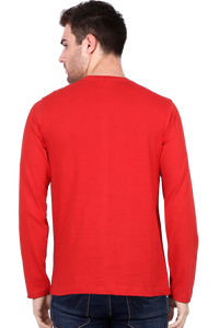 Amrak Men's Round Neck Full Sleeves T-Shirt - Plain Red