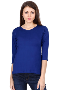 Amrak Women's Round Neck 3/4 Sleeves - Plain Royal Blue