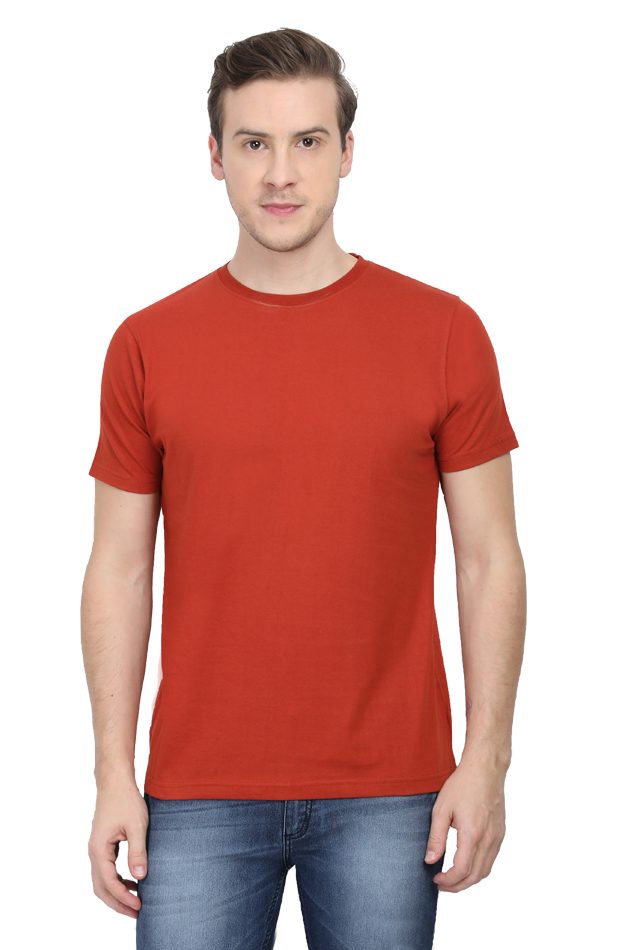 Amrak Men's Round Neck T-Shirt - Plain Brick Red